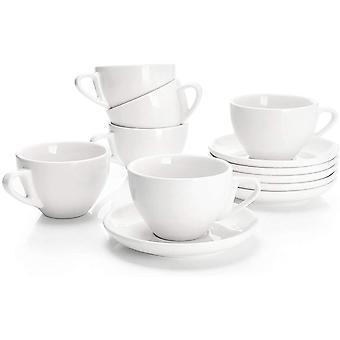 FengChun 402.002 6-teilig Cappuccinotassen Set aus Porzellan, Dickwandige Kaffeetassen mit