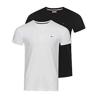 Tommy Jeans Tjm 2PACK CNECK Camiseta Camiseta, Blanco/Negro, M Hombre