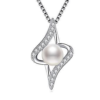 J.Venus - Damen Halskette, in 925 Silber, mit Süßwasserperlen, kubische Zirkonia, ideale Anhänger, elegante 45 mm Kette mit Ref. 8414773004141