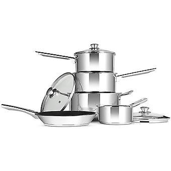 FengChun Professional Induktions-Safe Kochgeschirr Set, Edelstahl, 5 Stück