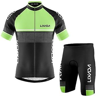 Men Cycling Jersey Set Breathable Quick-Dry Short Sleeve Biking Shirt and Foam Padded Shorts MTB Cycling Outfit Set