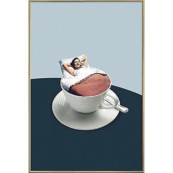 JUNIQE Print - Morgonritualer - Kaffeaffisch i blått och vitt