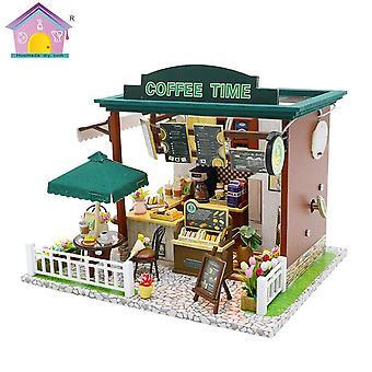 Diy nukkekoti miniatyyri huonekalut diy puu rakennus malli kahvila