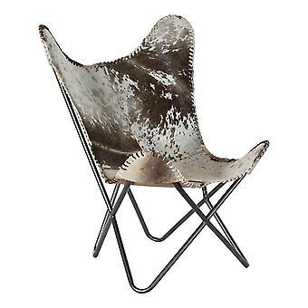 Nojatuoli DKD Home Sisustus Valkoinen Harmaa Nahka Vaaleanruskea (70 x 70 x 90 cm)