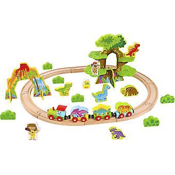 Set di gioco del treno dei piccoli dinosauri in legno