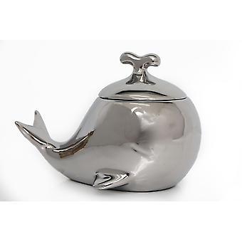 Ceramiczny garnek do bibelotów wielorybów