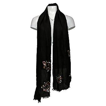 VT Luxe Wrap With Sequin Flower Detail Black Scarf A227837