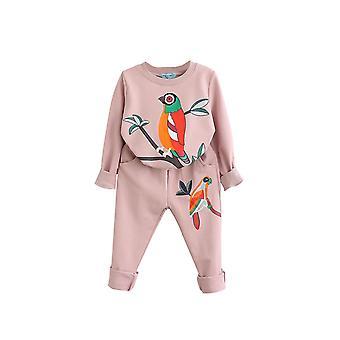 Bird Patterns Girls Clothing Sets Autumn Winter Toddler Kids Tracksuit(7T)
