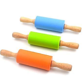 Kitchen Baking Tools Flour Stick Dumpling Stick Non Stick Silicone Flour Stick(Orange)