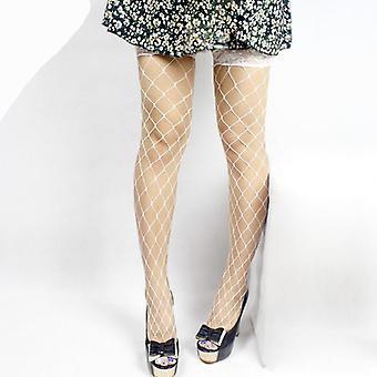 Summer Women's Net Lace Fishnet Thigh-highs Sheer Silk Hollow Plaid Design
