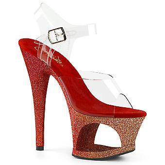Pleaser Damen's Schuhe MOON-708OMBRE Clr/Rose Gold-Rot Ombre