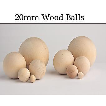 15 Ubehandlede 20mm trækugler uden huller | Træ figurer til håndværk