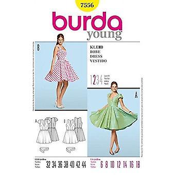 Burda Ladies Sy mønster 7556 Savner Kjole Størrelser: 6-18