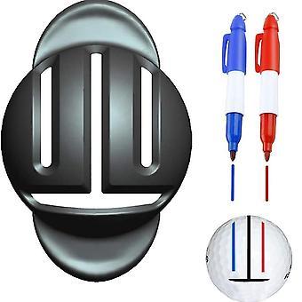 1 Set golfbal triple track 3 lijn marker chroom stencil +2pcs marker pen golf putting positionering helpt outdoor golf sport tool