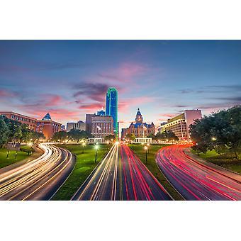 Tapetmaleri Skyline over Dealey Plaza i Dallas ved daggry