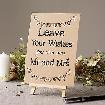 signature de livre d'or de mariage   Rustique Brun 'Laissez vos souhaits' avec chevalet