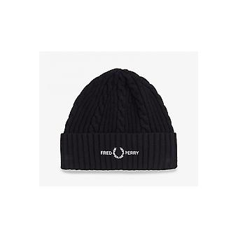 Fred Perry Cable Branded Beanie (Black)