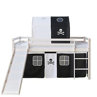 Kinderbett - Teen Bett - Kinderbett - Kinderbetten - Jungen - Mädchen - Modern - Weiß - Kiefernholz - 207 cm x 97 cm x 110 cm