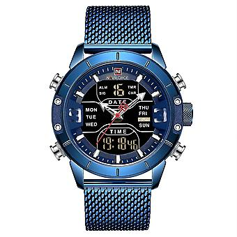 Computer racks mounts waterproof dual display watch calendar full steel business men digital watch blue colour