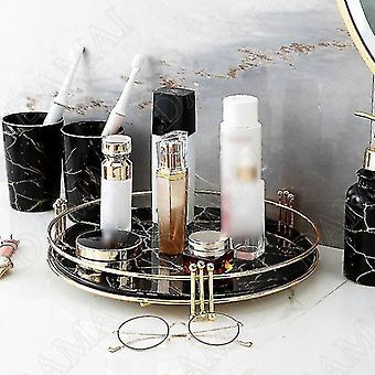 Decorative trays scandinavian style mirrored marble texture storage trays large-a