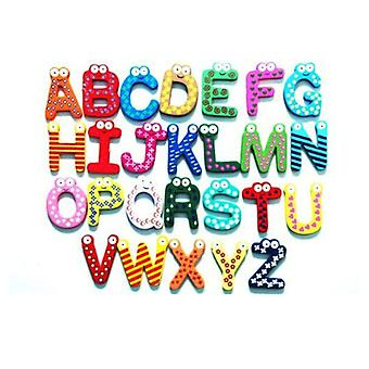 A Set Of 26pcs Colorful Cartoon Wooden A-z Alphabet Letters Fridge Magnets Magnetic Stickers Children Kids Learning Toys