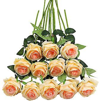 סט של 12 ורדים מלאכותיים, פרחי משי מזויפים דקו עם גבעול יחיד, פרח מציאותי (אדום)