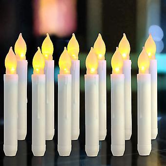 """נרות LED - נרות פמוט ארוכים - סט של 12 נרות ללא להבה Aa כוח סוללה נרות 16.5x2 ס""""מ אור נרות למסיבה חתונה חג המולד לקשט"""