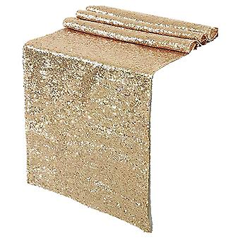 結婚パーティー記念日の誕生日のための輝くローズゴールドスパンコールテーブルランナー12x108インチシマーテーブルリネン