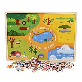 モンテッソーリパズルボード木製タングラム厚い早期学習認知おもちゃのトレーニングプレイセットキッズ3+誕生日プレゼント