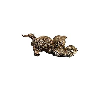 9ct Gold 15x39mm Cat playing with Wool Brooch