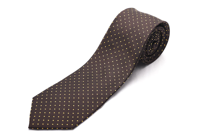 Luciano Barbera Men Slim Silk Neck Tie Polka Dot Brown Gold
