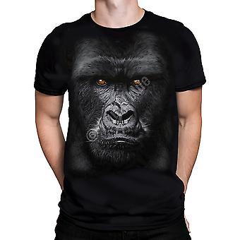 Vloeibare blauw-majestueuze gorilla-t-shirt korte mouw.
