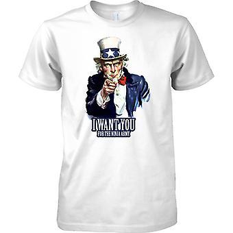 I Want You voor de Ninja leger - grappige Propaganda Recruitment - Mens T Shirt