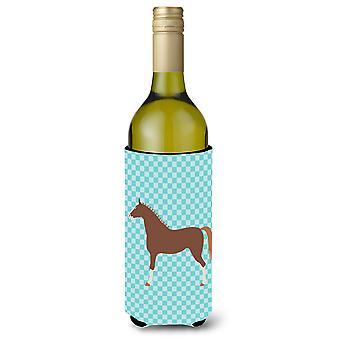 Hannoverian Horse Blue Check Wine Bottle Beverge Insulator Hugger