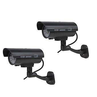 Kabalo 2 x Realistic Fake Dummy CCTV Security Camera Flashing Red LED Indoor Outdoor Black