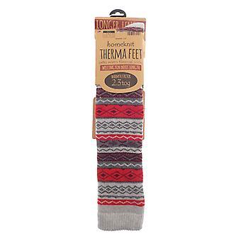 Homeknit Patterned Wellington Boot Socks Men's Red