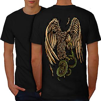 Eagle Snake Pray Fashion Men BlackT-shirt Back | Wellcoda
