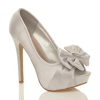 Ajvani kvinnors bröllop kvällen brudkläder högklackade plattform prom diamante peep toe domstolen skor sandaler