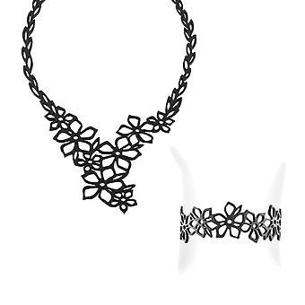 Conjunto de colar e pulseira flor de tiara em efeito tatuagem preto de Silicone