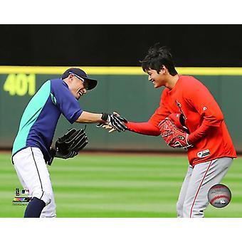 Shohei Ohtani & Ichiro Suzuki 2018 toiminta Photo Print