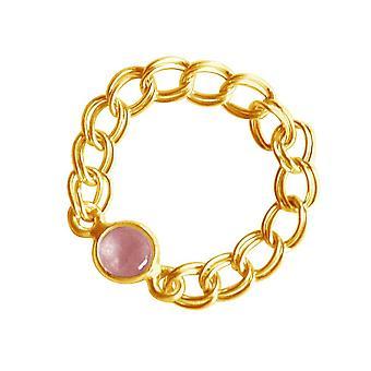 Gemshine kvinners ring gull belagt Rose kvarts rosa bevegelige smidig