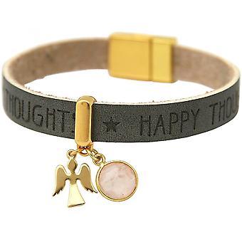 Damen - Armband - Schutz Engel - Vergoldet - WISHES - Anthrazit - Grau - Rosa - Rosenquarz - Magnetverschluss