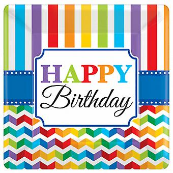 Amscan 10in Happy Birthday Square Plates (Pack Of 8)