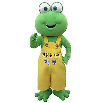 mascot SPOTSOUND Green Frog with yellow overalls