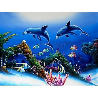 الأسماك في البحر، رسمت باليد لوحة زيتية على قماش، 90x120 سم