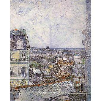 Uitzicht op Parijs vanuit Vincent ' s kamer in de Rue Lepic, Vincent van Gogh