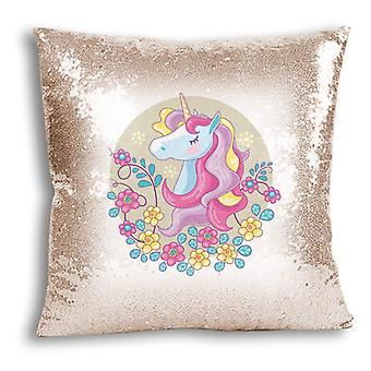 i-Tronixs - Unicorn Printed Design Champagne Sequin Cushion / Pillow Cover for Home Decor - 5