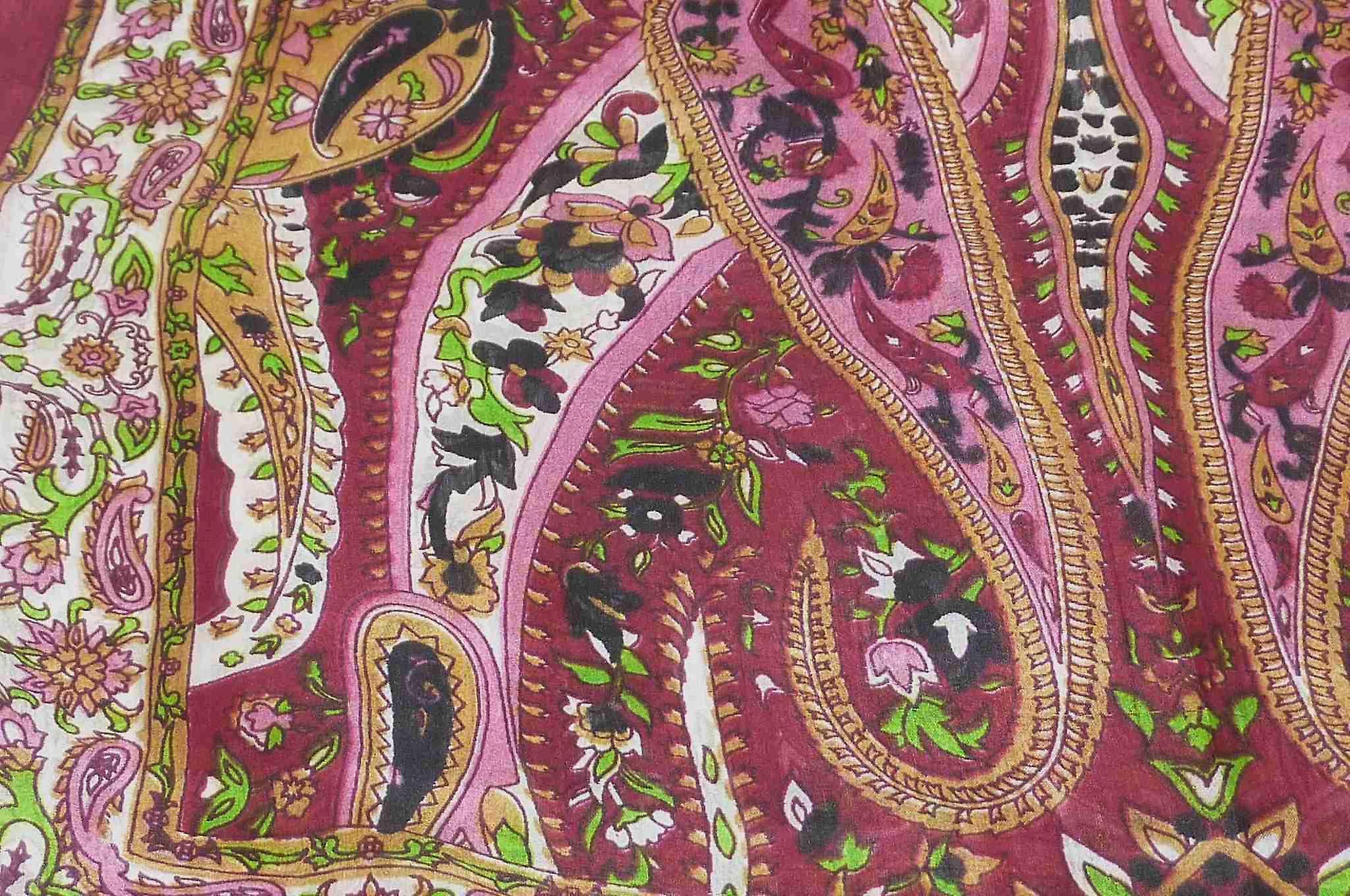 Mulberry Silk Traditional Long Scarf Yola Wine by Pashmina & Silk