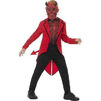 Deluxe Day of the Dead Devil Boy Costume, Red, with EVA Mask, Jacket & Top