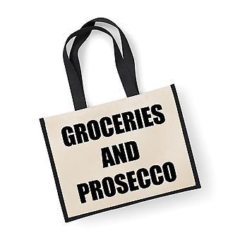 Large Jute Bag Groceries And Prosecco Black Bag
